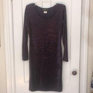 Purple crushed velvet dress